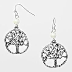 Tree of Life Silvertone Circle Earrings - The Rustic Shop