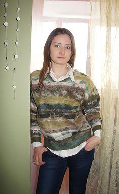 """Купить Валяный пуловер """"Дивный сад"""". - оливковый, абстрактный, валяный свитер, Валяние, 100% шерсть"""
