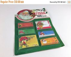 SALE Vintage Christmas Gift Tags And Cards Unopened 100 Pieces Retro Santa Claus Snowman Graphics Ephemera New In Package New Old Stock NIP - pinned by pin4etsy.com