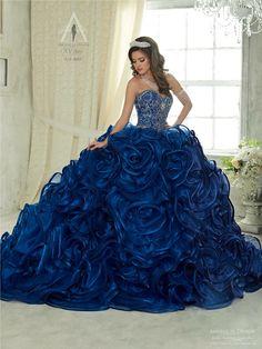 eb3bc72b988 Sweetheart Diamond Beaded Organza Puffy Navy Blue Quinceanera ...