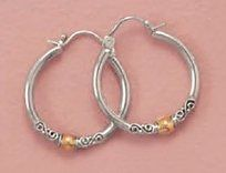14K Gold Plated Sterling Silver Bali Hoop Earrings, 2.5x23mm, 7/8 inch diameter Silver Messages. $50.99. Save 31% Off!