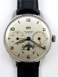 Universal Geneve SS Triple Calendar Moonphase circa 1950's