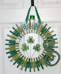 Saint Patricks Day Wreath  Monogram  St  by GlitterGlassAndSass