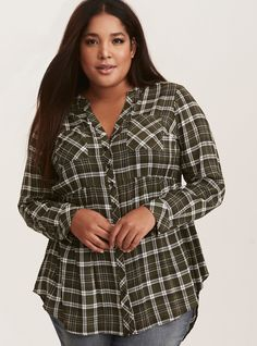 f3535406b9d Emma - Plaid Challis Babydoll Tunic - An olive green and white plaid tunic  has a