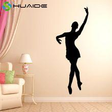Bailarina Decalque Da Parede ESTILO Preto de Vinil Adesivos de Parede Home Decor Sala Quarto Meninas Dançando Studio Room Decor Mural JW185