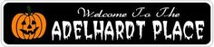 ADELHARDT PLACE Lastname Halloween Sign - Welcome to Scary Decor, Autumn, Aluminum - 4 x 18 Inches by The Lizton Sign Shop. $12.99. Rounded Corners. Aluminum Brand New Sign. Predrillied for Hanging. Great Gift Idea. 4 x 18 Inches. ADELHARDT PLACE Lastname Halloween Sign - Welcome to Scary Decor, Autumn, Aluminum 4 x 18 Inches - Aluminum personalized brand new sign for your Autumn and Halloween Decor. Made of aluminum and high quality lettering and graphics. Made t...