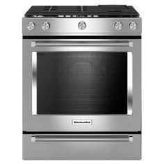 KitchenAid 30 in. 6.5 cu. ft. Slide-In Gas Range with Self-Cleaning Convection Oven in Stainless Steel - KSGB900ESS - The Home Depot