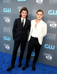 Joe Keery & Dacre Montgomery attend the 23rd Critics' Choice Awards on January 11th, 2018 in Santa Monica, California.