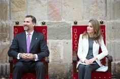 "Prince Felipe of Spain and Princess Letizia of Spain attend the ""Principe de Viana"" 2013 award at San Salvador de Leyre Monastery on 6 June 2013 in Navarra, Spain"