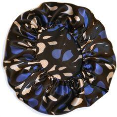 Charmeuse Silk Print Bonnet- Blue, Black, Cream Motif