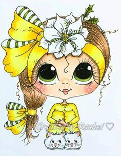 Art for kids Besties, Big Eyes Artist, Doll Drawing, Line Art Images, Gothic Culture, Creation Art, Digi Stamps, Cute Illustration, Manga Art