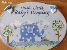 HUSH LITTLE BABY BLUE BIRD ELLIE CERAMIC OVAL PLAQUE/SIGN~BABY BOY~FREE PP UK