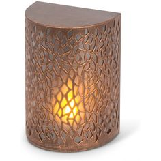 """Free 2-day shipping. Buy Gerson 44216 - 8"""" 19 Light Brushed Copper Battery Operated Sconce (6""""L x 4.25""""W x 8""""H Metal Brushed Copper Sconce) at Walmart.com Lantern Candle Holders, Candle Lanterns, Battery Operated Wall Sconce, Yoga Studio Design, Modern Wall Lights, Light Bulb Bases, Lamp Shades, Wall Sconces, Night Light"""