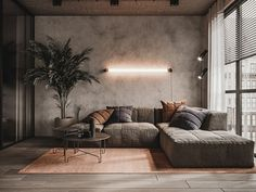 Interior design Living room and bedroom in modern loft style. Apartment Interior, Home Living Room, Interior Design Living Room, Living Room Designs, Living Room Decor, Studio Apartment, Man Apartment, Modern Loft Apartment, Manly Living Room
