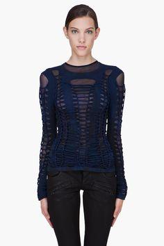 VERSUS Blue Woven Jersey T-Shirt