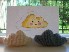 Here's a pattern I made for an amigurumi cloud.   It is easy to crochet, but a bit hard to explain. Because of this the pattern involves a...