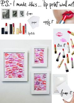 DIY lip print wall art with lipsticks in any red'ish & pink colors. Very cute decor. Valentines Bricolage, Valentines Diy, Diy Wanddekorationen, Easy Diy, Reproductions Murales, Home Crafts, Diy And Crafts, Mur Diy, Wal Art