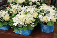 Композиции на стол гостей, голубая свадьба. Свадебная флористика
