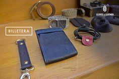 Billetera de Piel Color Azul
