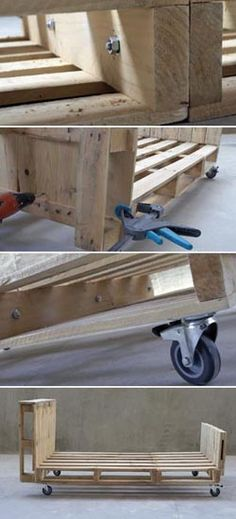 Łóżko z palet/ Pallet Crates, Pallet Beds, Pallet Furniture, Furniture Projects, Wood Pallets, Home Furniture, Bedroom Furniture, Pallet Projects, Home Projects