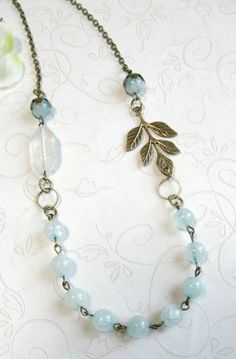 Pale blue necklace jade beads vintage style by botanicalbird (Focal link could be interchangeable) Wire Jewelry, Jewelry Crafts, Beaded Jewelry, Jewelry Necklaces, Jewelry Ideas, Beaded Bracelets, Jewellery Supplies, Boho Jewellery, Jewelry Kits