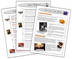 Fiche documentaire et questionnaire sur la fête d'Halloween ! French Teaching Resources, Teaching French, Teaching Tools, Vocabulary Flash Cards, French Education, French Classroom, French Immersion, Classroom Language, One Day
