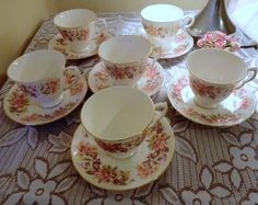 Colclough Wayside Tea Set. Set of six English by PrettyVintageHome