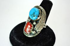 Navajo Robert Kelly Sterling Turquoise & Coral Feather Ring 9 1/2 - Old Pawn Sterling Native American Signed Robt Kelly Turquoise Ring by GranvilleGallery on Etsy