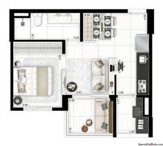 Apartamentos de 40, 52 e 68 metros, 1, 2 e 3 dormitórios em um terreno com 2 torres divididos por uma linda praça de convivência e lazer completo. O bairro oferece comercios,faculdades, restaurantes, bancos, colégios e farmácias. Apartamento de 40 m²(1 dormitório) Apartamento de 52 m² ( 2 dormitórios) Apartamento de 68 m² (3 dormitórios)