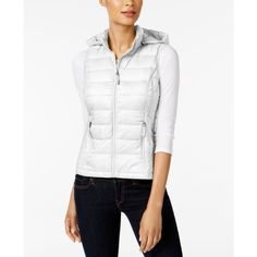 32 Degrees Hooded Packable Down Puffer Vest ($45) ❤ liked on Polyvore featuring outerwear, vests, winter white, quilted puffy vest, ivory vest, quilted puffer vest, hooded vests and white hooded vest