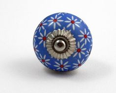 Pretty BLUE Flowery CERAMIC Door Knob / Drawer Pull from INDIA. SET of 4.: Amazon.co.uk: Kitchen & Home