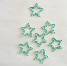 Turquoise Star Paper Clips
