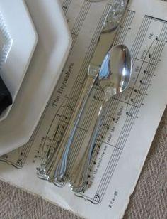 sheet music as place mats                                                       …