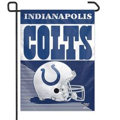 """Indianapolis Colts 11""""x15"""" Garden Flag by WinCraft. $8.99. These garden flags are a great way to show who your favorite team is, and also makes a great gift!  They are a great addition to any yard or garden area. They are 11""""x15"""" in size, are made of a sturdy polyester material, and feature bright eye-catching graphics.  Pole not included.  Made by WinCraft."""