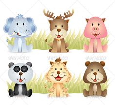 Animal Collection Set  #GraphicRiver         cute animal collection for your character design or mascot     Created: 2November11 GraphicsFilesIncluded: VectorEPS Layered: Yes MinimumAdobeCSVersion: CS Tags: adorable #animal #artistic #bear #cartoon #cheerful #cheetah #cute #drawing #elephant #funny #happy #illustration #image #panda #pet #picture #pig #reindeer #smile #sweet #vector