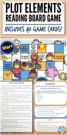 """This is a fantastic game to practice plot!  My students were so engaged and had a lot of fun playing!"" This Plot Elements Board Game includes 40 multiple-choice game cards for identifying plot elements (exposition, rising action, climax, falling action, resolution). Works great for 3rd, 4th, and 5th grades!"
