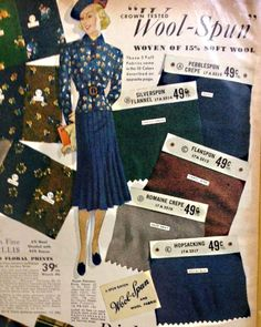 1930s Wool fabric for winter clothing