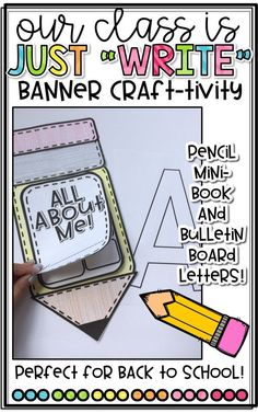 Back to School Pencil Banner Craft with Bulletin Board Letters! Easy All About Me Mini-Book for Back to School!