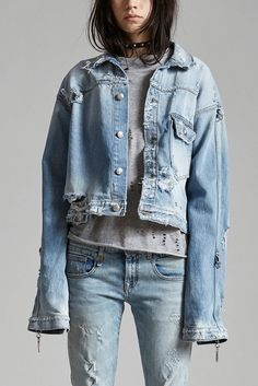 - Cropped Trucker Jacket with Elongated Sleeves - Hooks to Clip Sleeve Up - Heavily Distressed Light Blue Wash - 100% Cotton - Machine Wash - Made in Italy - R13W6329-226