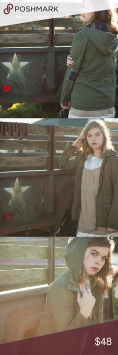 Elbow patch jacket Olive with plaid patches. A perfect answer to fall outdoors! Jackets & Coats Utility Jackets