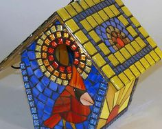 Birdhouse Stained Glass Mosaic Goldfinch by NatureUnderGlass