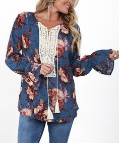 Another great find on #zulily! Teal Floral Crochet-Accent Bell-Sleeve Tunic #zulilyfinds