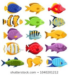 Colorful Reef Tropical Fish Set by AlfazetChronicles Colorful coral reef tropical fish set vector illustration. Sea fish collection isolated on white background. Fish Stencil, Fish Icon, Cartoon Fish, Cartoon Sea Animals, Fish Vector, Cute Fish, Fish Drawings, Sea Fish, Tropical Fish