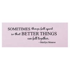 Amazon.com: Sometimes things fall apart Marilyn Monroe Quote wall decal wall saying: Home & Kitchen