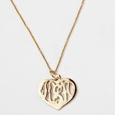 Heart Monogram Necklace, Gold for her.