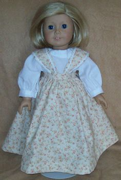 Floral Pinafore and Blouse fits American Girl Doll