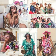 English Garden Party Hats and Floral Dresses. Themed bridal shower with unlimited mimosas!