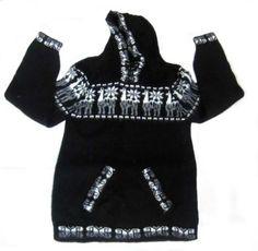 Schwarzer Kapuzen #Pullover aus #Alpakawolle, Inka Designs, Unisex