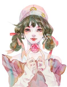 少女心事_涂鸦王国 原创绘画平台 www.poocg.com Colorful Drawings, Art Drawings, Manga Art, Anime Art, Postcard Art, Guy Drawing, Beautiful Drawings, Female Art, Art Inspo