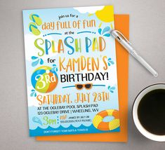 Splash Pad Invitation, Pool Party Invitation, Summer Birthday Invite, printable invite, Water Park Invitation, Boy Birthday Invite